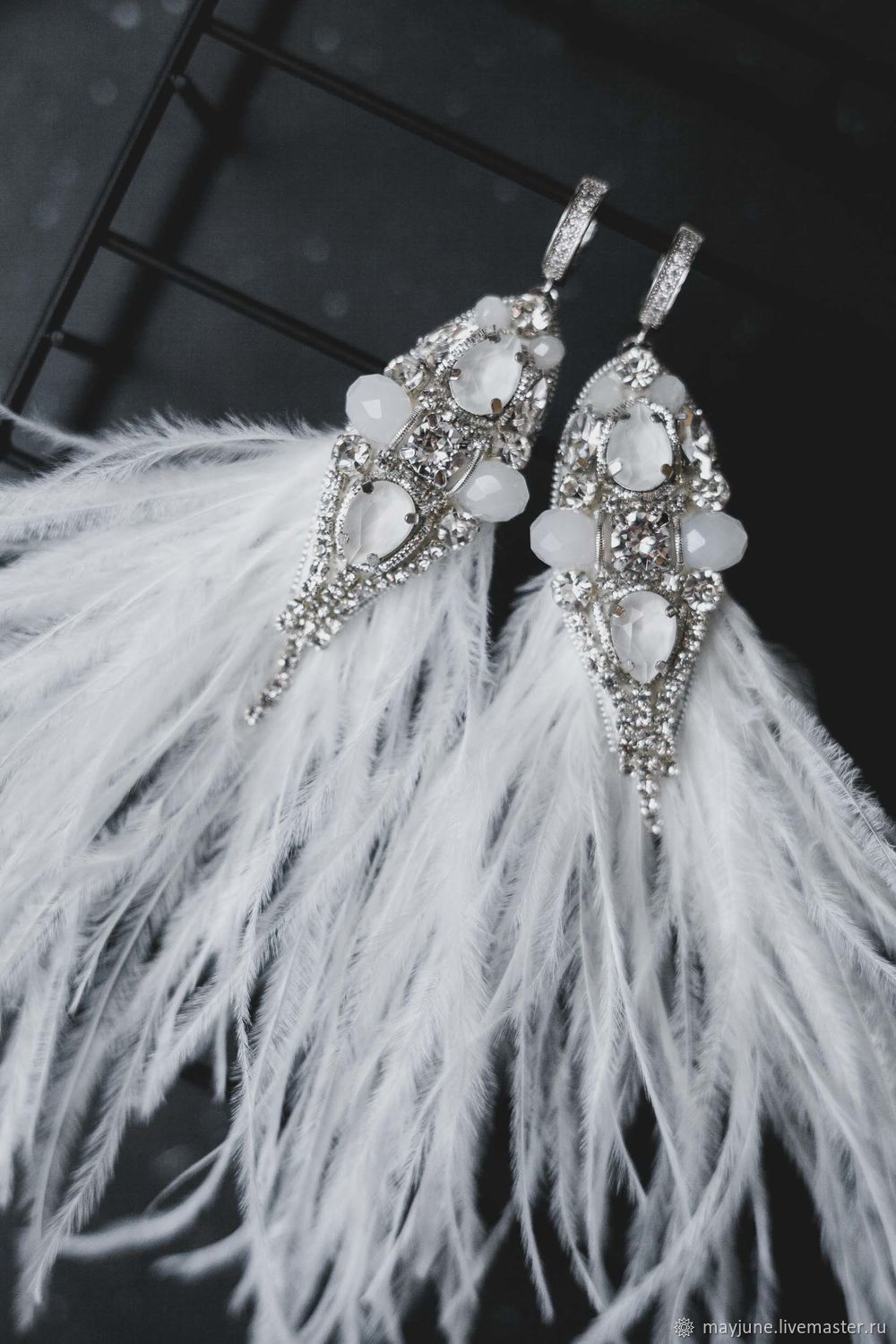 Wedding earrings with white feathers and Swarovski crystals, Earrings, Tambov,  Фото №1