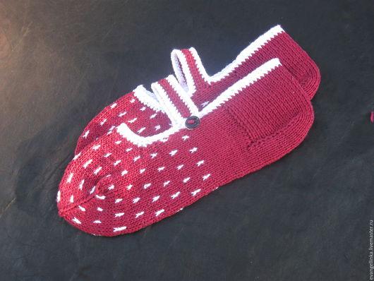 Носки, Чулки ручной работы. Ярмарка Мастеров - ручная работа. Купить Вязаные следки носки, хлопок. Handmade. Бордовый