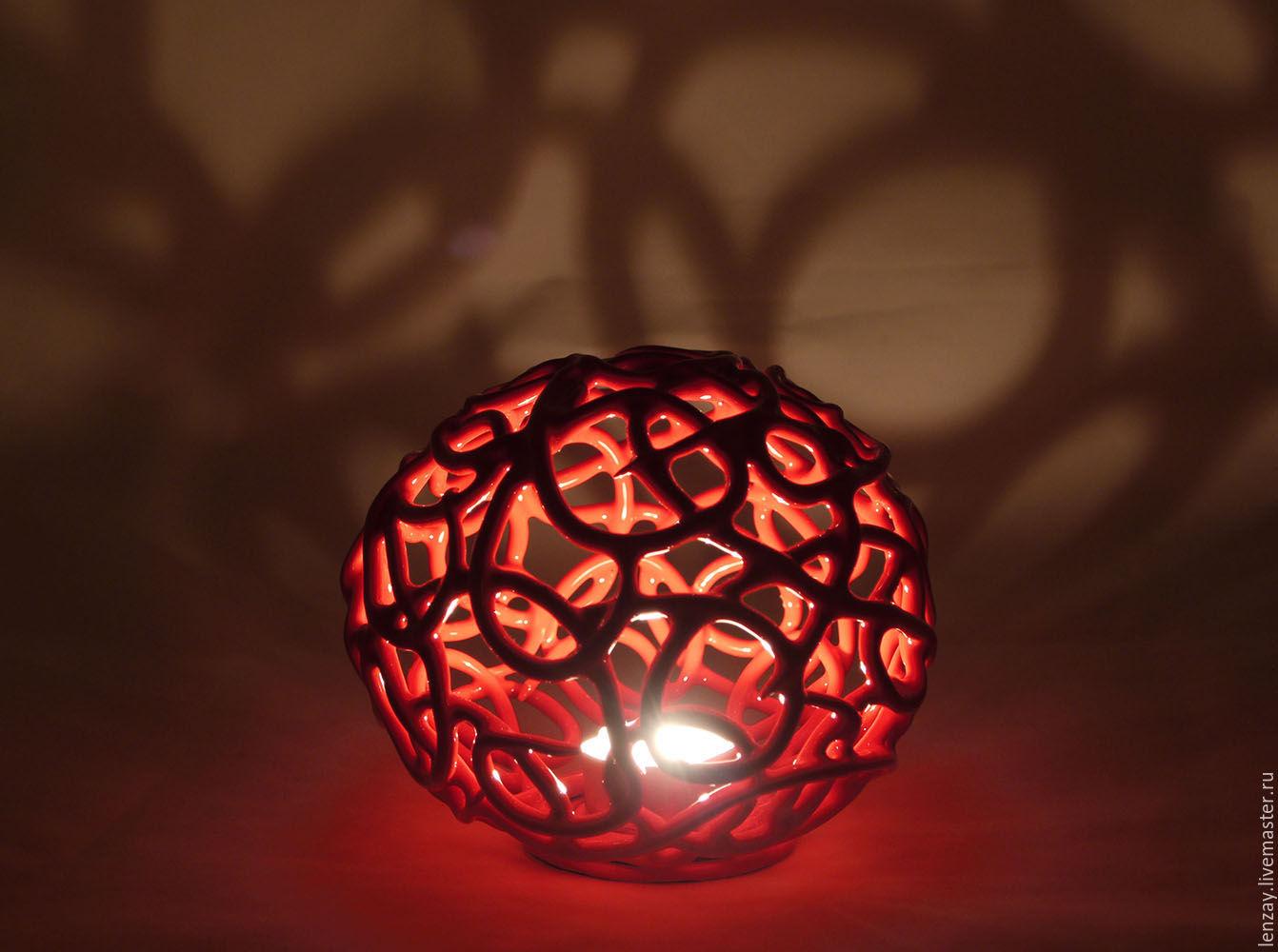 Candlestick `Red date`. Woven ceramics Elena Zaichenko