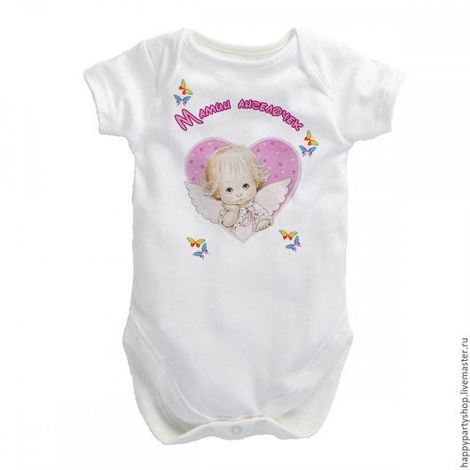 """Одежда для девочек, ручной работы. Ярмарка Мастеров - ручная работа. Купить Детская футболка """"Мамин ангелочек"""". Handmade. Белый"""