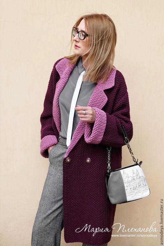 Верхняя одежда ручной работы. Ярмарка Мастеров - ручная работа. Купить Пальто вязаное двухцветное bicolor. Handmade. Фиолетовый