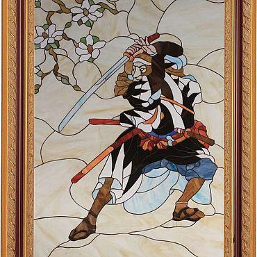 """Для дома и интерьера ручной работы. Ярмарка Мастеров - ручная работа Витраж (Тиффани) - """"Самурай"""". Handmade."""