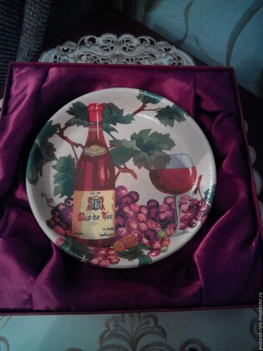"""Кухня ручной работы. Ярмарка Мастеров - ручная работа. Купить Глиняная тарелка """"Виноградная лоза"""" в технике декупаж. Handmade."""