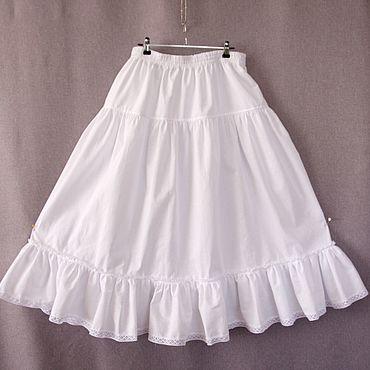 Одежда ручной работы. Ярмарка Мастеров - ручная работа Нижняя длинная юбка отделанная кружевом, юбка ярусами. Handmade.