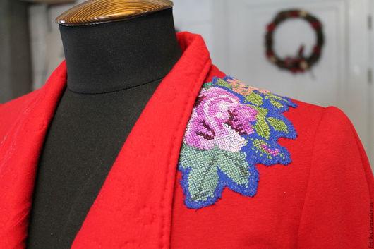 """Пиджаки, жакеты ручной работы. Ярмарка Мастеров - ручная работа. Купить Жакет """"Роза"""". Handmade. Ярко-красный, подарок девушке"""