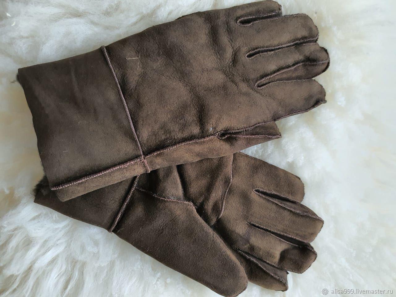 Кожаные перчатки из овчины мужские, хаки, Перчатки, Москва,  Фото №1