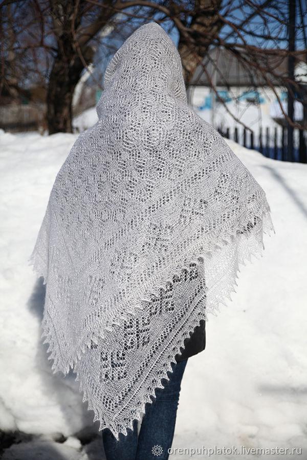 Паутинка пуховая белая, Палантины, Москва,  Фото №1