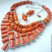 Украшения handmade. Livemaster - original item NECKLACE 3 strands EARRINGS orange CORAL beads.. Handmade.