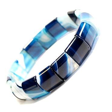 Decorations handmade. Livemaster - original item Bright blue natural agate bracelet. Handmade.