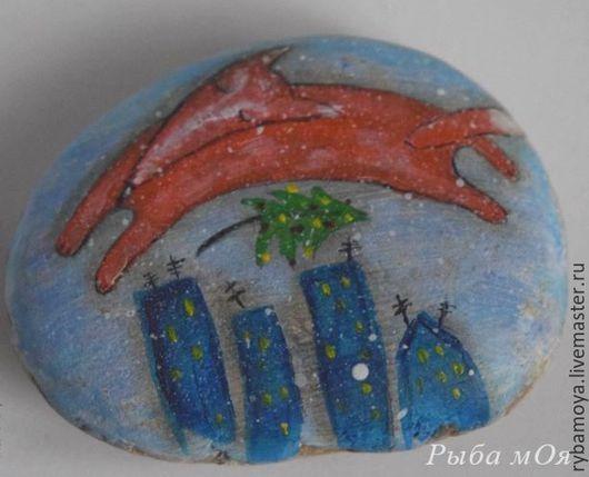 Камешек морской расписной. Ярмарка Мастеров - ручная работа.Handmade. Купить Подарок - расписной морской камешек. Мастер Яга