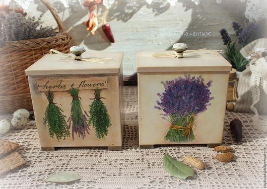 """Кухня ручной работы. Ярмарка Мастеров - ручная работа. Купить Банки для хранения """"Травы и цветы"""". Handmade. Комбинированный, короб для специй"""