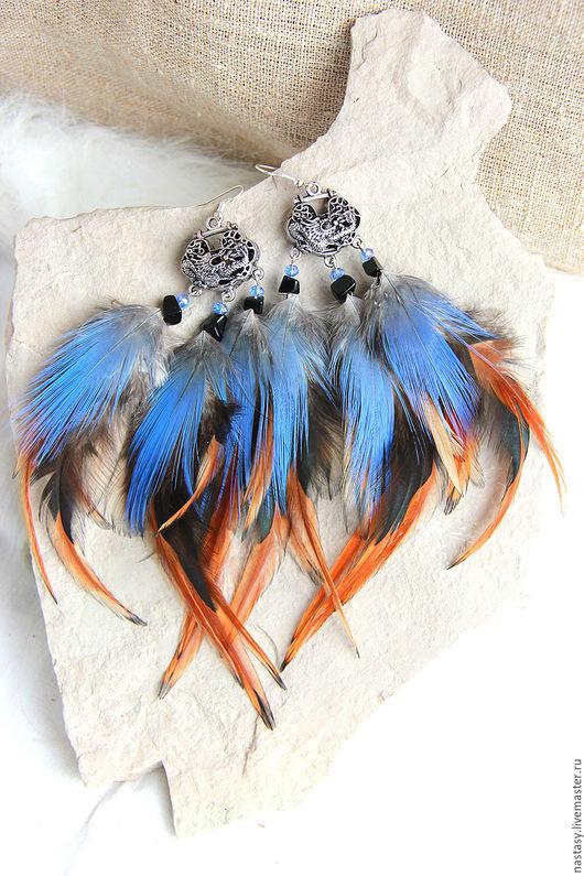 Cерьги с перьями `Спящий дракон` Авторские серьги и другие украшения из перьев Анастасия Николаева.