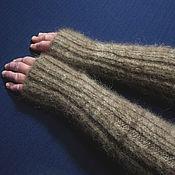 Аксессуары handmade. Livemaster - original item Long knitted fingerless gloves with ties. Handmade.