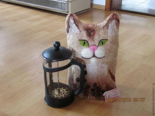 Кухня ручной работы. Ярмарка Мастеров - ручная работа. Купить грелка на кофейник Кофейный кот. Handmade. Шерсть, шерсть 100%