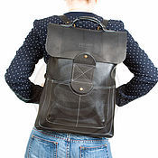 Сумки и аксессуары handmade. Livemaster - original item Black leather backpack Space. Handmade.