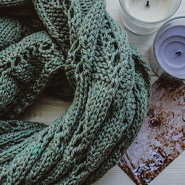 """Аксессуары ручной работы. Ярмарка Мастеров - ручная работа Вязаный зеленый шарф """"Leave"""". Handmade."""