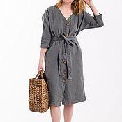 Одежда handmade. Livemaster - original item Dresses: grey linen dress 2 in 1