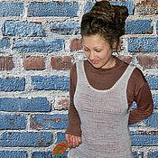 Одежда ручной работы. Ярмарка Мастеров - ручная работа Вязаный белый сарафан Прикосновение облака. Handmade.