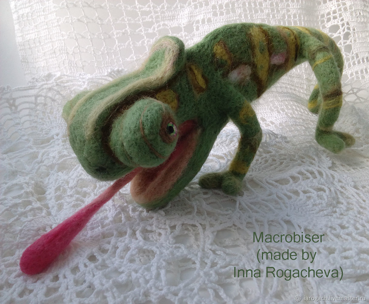 Chameleon  - needle felted – Soft Sculpture, Felted Toy, Stavropol,  Фото №1