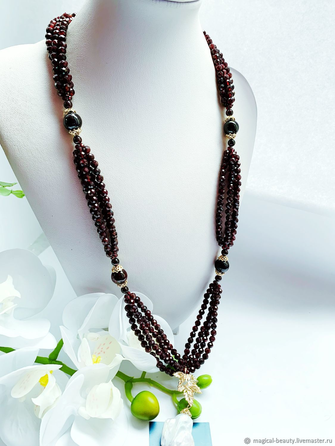 Necklace with garnet 'Glass of Burgundy wine', Necklace, Moscow,  Фото №1