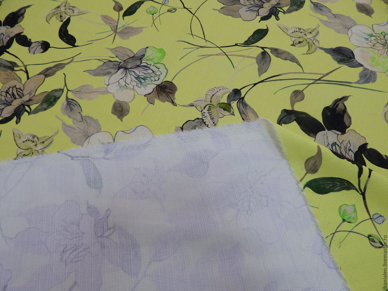 Хлопковая ткань Итальянская, яркая жёлто-зелёная, Ткань, Пенза, Фото №1