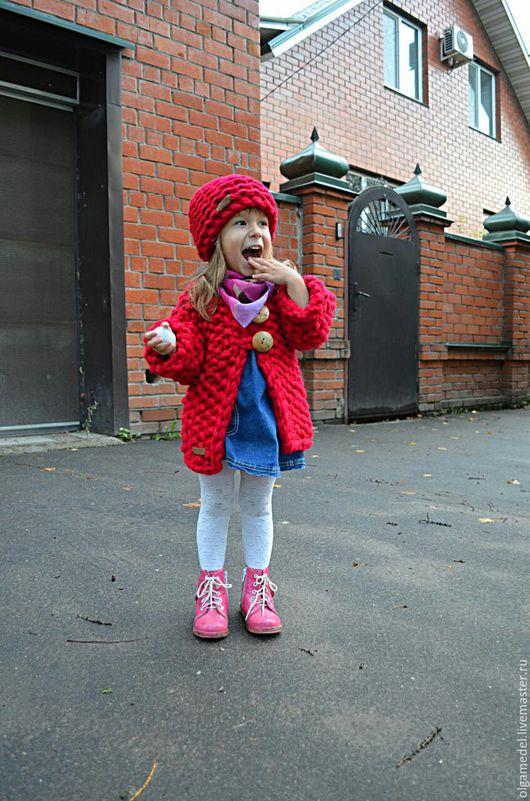 Одежда для девочек, ручной работы. Ярмарка Мастеров - ручная работа. Купить Детский кардиган алого цвета. Handmade. Детская одежда