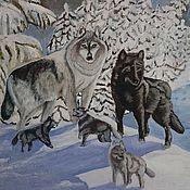 """Картины и панно ручной работы. Ярмарка Мастеров - ручная работа Картина маслом """"Семья"""". картина животные. картина волки. Handmade."""