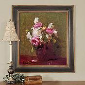 Картины и панно handmade. Livemaster - original item Picture of White peonies, roses, daffodils. Handmade.