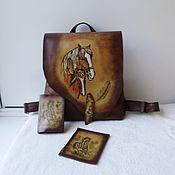 Сумки и аксессуары handmade. Livemaster - original item Leather set.Backpack, Cover, Wallet.. Handmade.