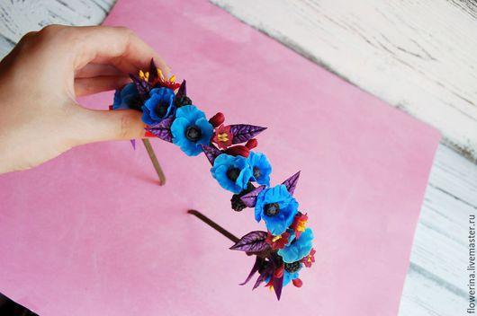 """Диадемы, обручи ручной работы. Ярмарка Мастеров - ручная работа. Купить Ободок из цветов """"сине-вишневый с ежевикой"""". Handmade. Синий"""