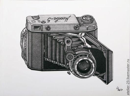 Натюрморт ручной работы. Ярмарка Мастеров - ручная работа. Купить Фотоаппараты РЕТРО БРОНЬ. Handmade. Чёрно-белый, винтаж, рисунок