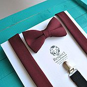 Аксессуары handmade. Livemaster - original item Bow tie and suspenders Marsala / set Burgundy bow tie, suspenders. Handmade.