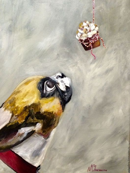 Животные ручной работы. Ярмарка Мастеров - ручная работа. Купить Капкейк. Картина маслом.. Handmade. Серый, натюрморт, десерт, белый