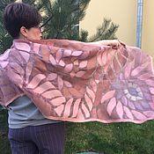 Аксессуары handmade. Livemaster - original item Stole felted Paradise pink flowers. Handmade.
