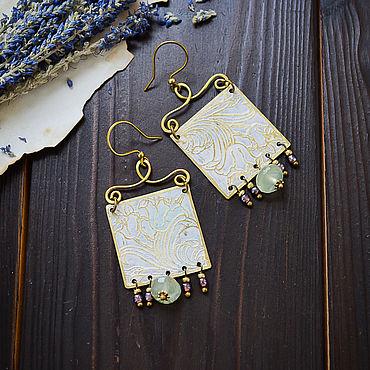 Decorations handmade. Livemaster - original item Brass earrings with prehnite Boho earrings square white green. Handmade.