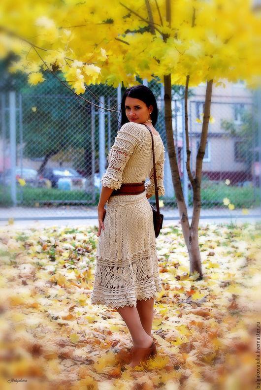 """Платья ручной работы. Ярмарка Мастеров - ручная работа. Купить Шелковое платье """"Шарлотта"""". Handmade. Бежевый, Платье красивое"""