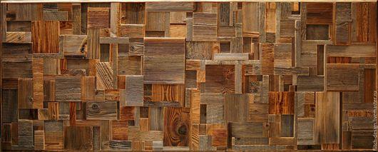 Абстракция ручной работы. Ярмарка Мастеров - ручная работа. Купить Панно из старой древесины RN13. Handmade. Темно-серый