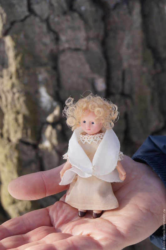 Коллекционные куклы ручной работы. Ярмарка Мастеров - ручная работа. Купить Миниатюра Маруся и Ангел. Handmade. Комбинированный, купить куколку