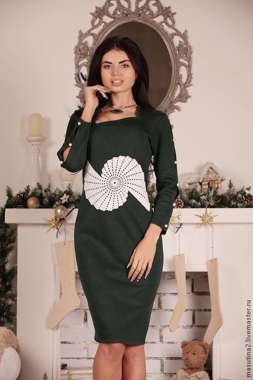 """Платья ручной работы. Ярмарка Мастеров - ручная работа. Купить Платье """"Птица счастья"""". Handmade. Тёмно-зелёный, Вязание крючком"""