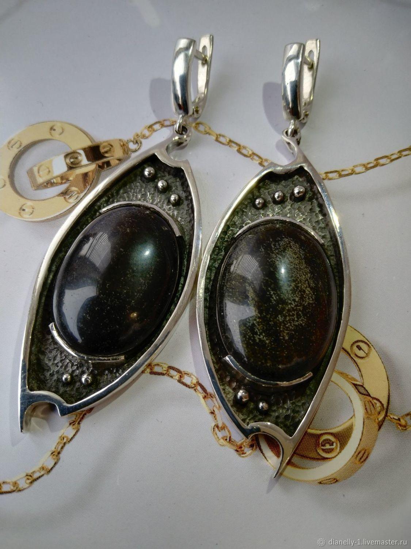 Серьги с золотым обсидианом в серебре (№22), Серьги классические, Симферополь,  Фото №1
