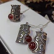 Украшения handmade. Livemaster - original item Silver set with natural carnelian, earrings and ring. Handmade.
