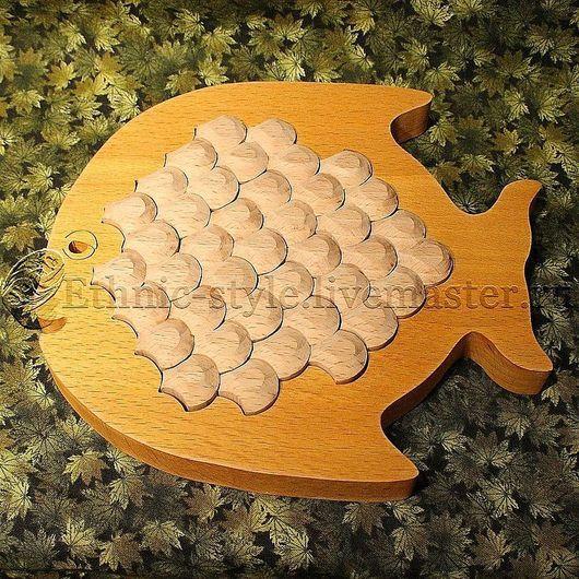 Развивающие игрушки ручной работы. Ярмарка Мастеров - ручная работа. Купить Рыбка (настольная головоломка). Handmade. Желтый, чешуйки, желтый