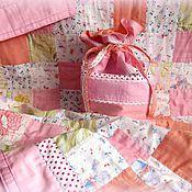 """Для дома и интерьера ручной работы. Ярмарка Мастеров - ручная работа Детский лоскутный комплект одеяло и мешочек """"Бабочки"""". Handmade."""