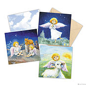 Открытки handmade. Livemaster - original item Angels postcard Set of three large square postcard, 15h15 cm. Handmade.