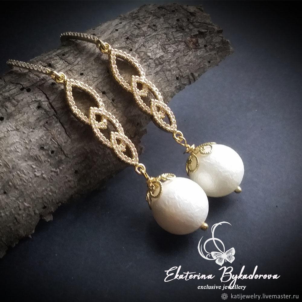 Earrings classic: with white pearls Majorca ' Elada', Earrings, Rostov-on-Don,  Фото №1