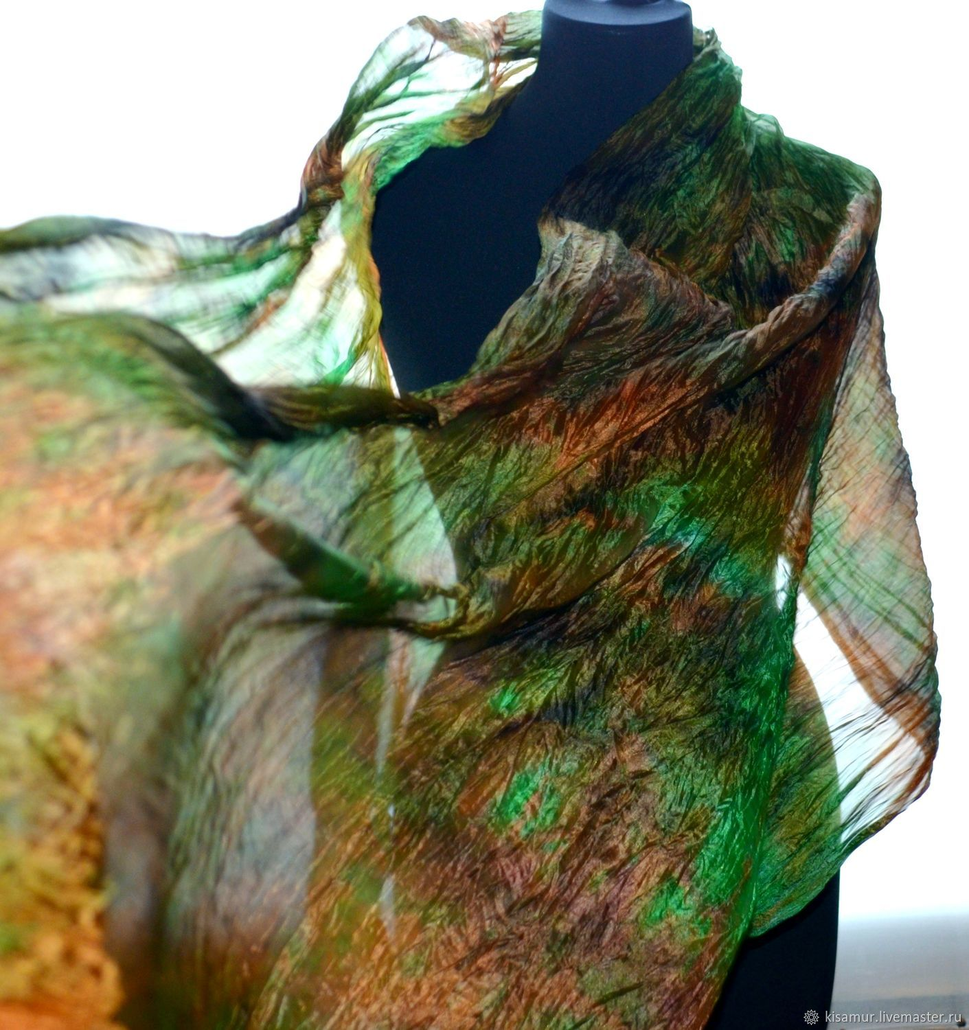 Large silk scarf stole green with orange brown, Scarves, Vyazma,  Фото №1
