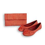 Обувь ручной работы handmade. Livemaster - original item Summer set from Python. Ballet flats and clutch. Handmade.