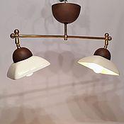 Для дома и интерьера ручной работы. Ярмарка Мастеров - ручная работа Светильник из фарфора с двумя плафонами и латунным каркасом. Handmade.