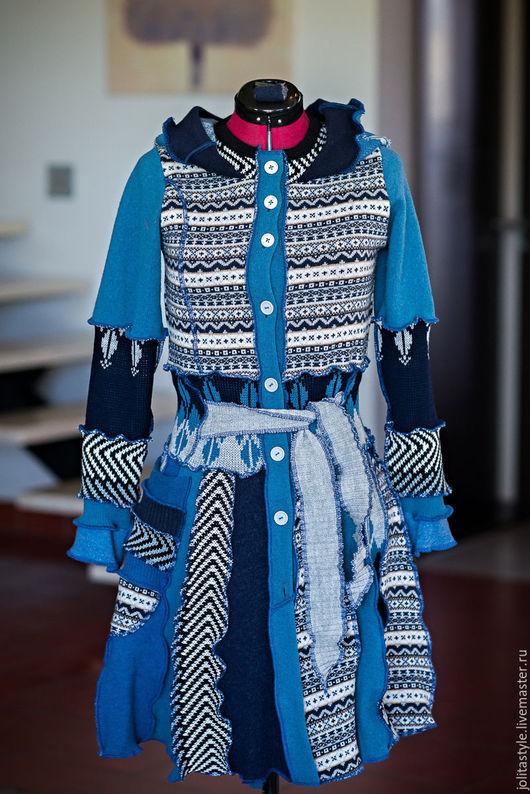 Кофты и свитера ручной работы. Ярмарка Мастеров - ручная работа. Купить NR-3 Шерстяное лоскутное полупальто. Handmade. Синий