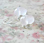 Украшения handmade. Livemaster - original item Earrings with rose quartz DELICATE PEONY. Handmade.
